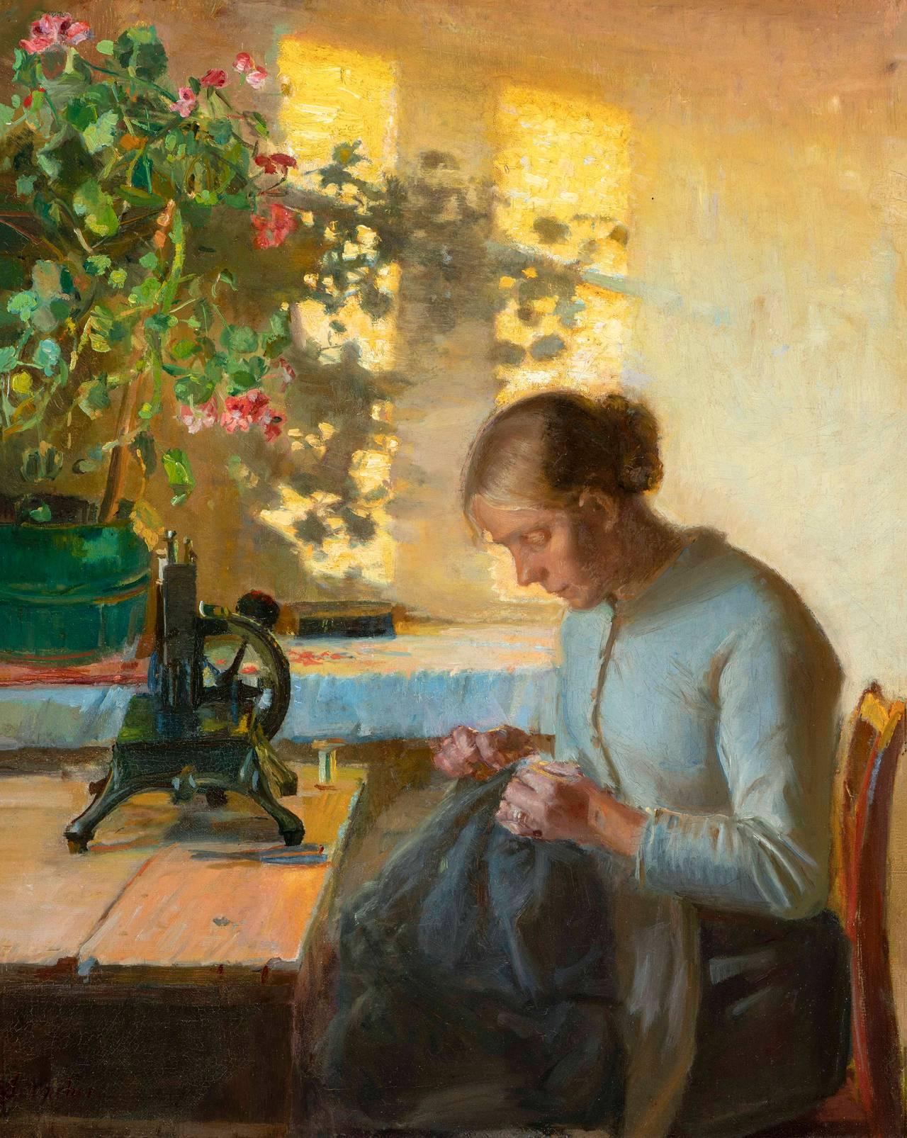 Anna Ancher, Cindy Fiskerbage.  Quasi.  1899. Museo d'arte Randers.