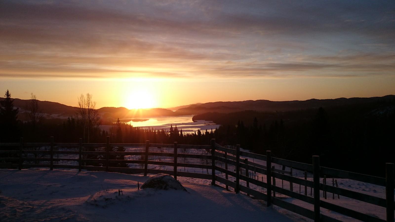 Soloppgang ved Store Grønsjøen i Leksvik