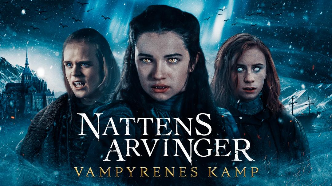 Tre vampyrer i tenårene, en gutt og to jenter, ser mot oss med lysende øyne og blikket rettet forbi kamera.