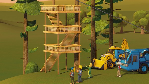 Britisk animasjonsserie. Aldri gi opp.Bob og lagetet skal bygge en zipline for Gretes nye utendørs treningsprogram.