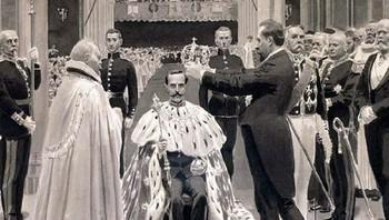Statsminister Christian Michelsen setter kronen på kong Haakons hode