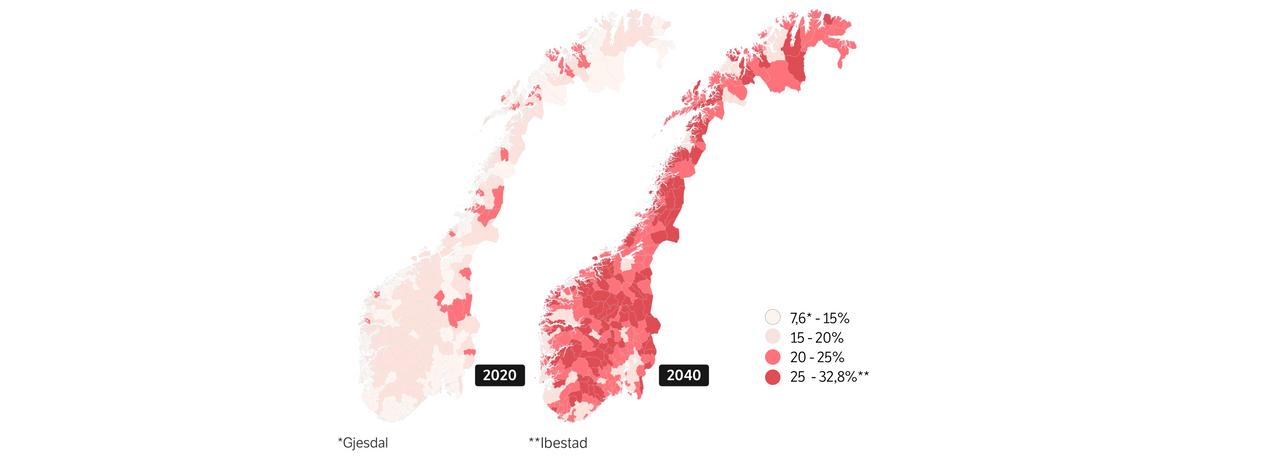 Kart over kommuner med prosentvis aldersfordeling over 70 år