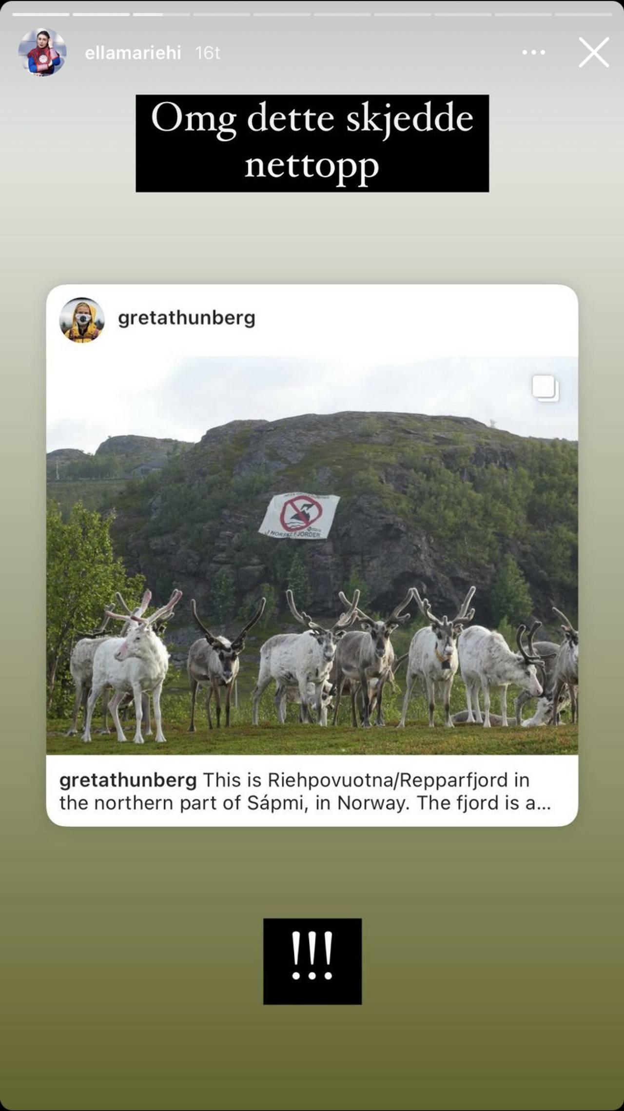 Ella Marie Hætta Isaksens instagram-story 1