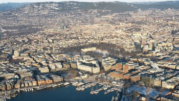 NRK Host Broadcaster aerial photo shoot. Downtown Oslo.