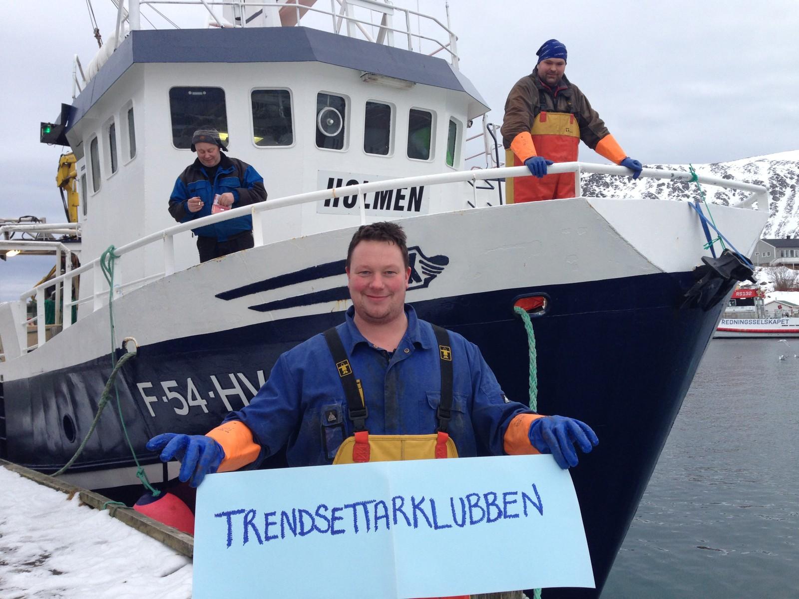 Are Mikalsen, André Henriksen og i front Kjell Gunnar Johansen. Alle i Holmen Fiske.