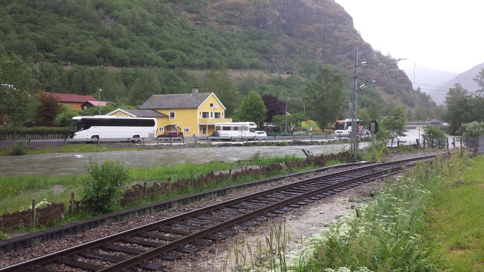 Nedre del av elva i Flåm i ettermiddag.