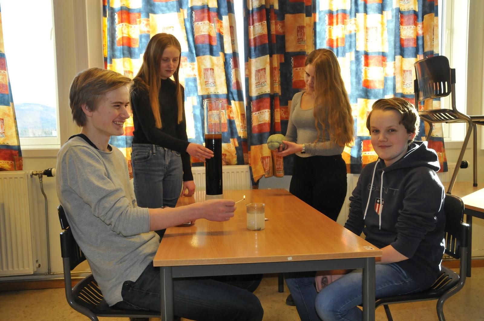 Steffen Magnussen, Ola Sæther, Aslaug Seim Gunstad og Celine Persokrud fra Jevnaker skole