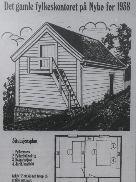 I dette vesle huset heldt heile administrasjonen til Fylkesmannen til fram til 1939.