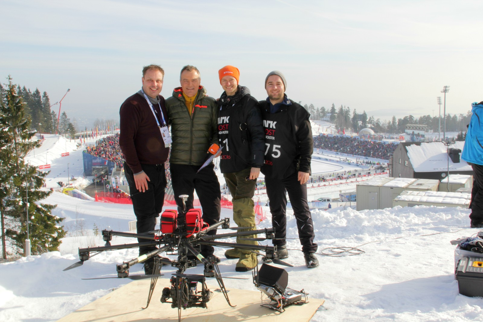 The NRK Host Broadcaster drone crew on an assignment for the German TV crew.