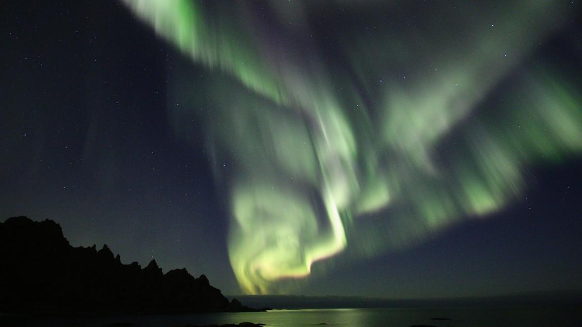 Bilde av nordlys, tatt fra Andøya