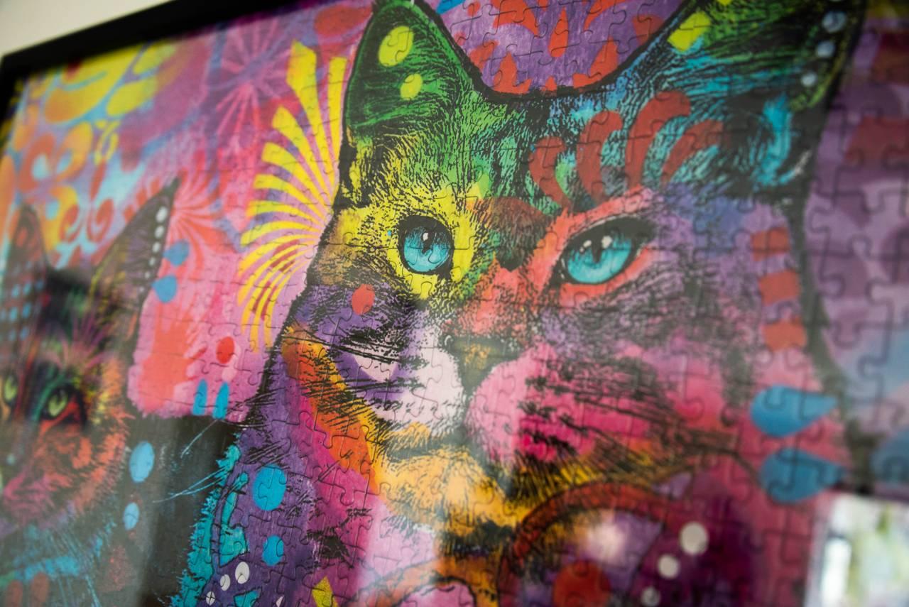 Et fargerikt puslespill med kattemotiv, på veggen hos Hanne Breivik