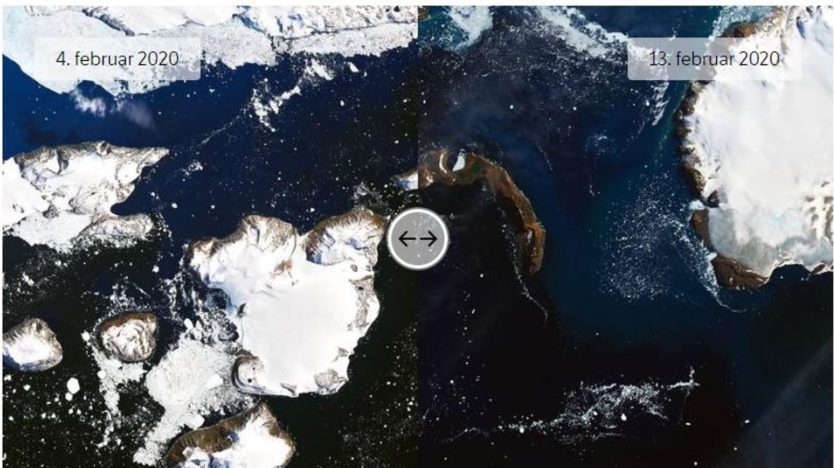 Snødekke på Eagle Island 4. og 13. februar 2020