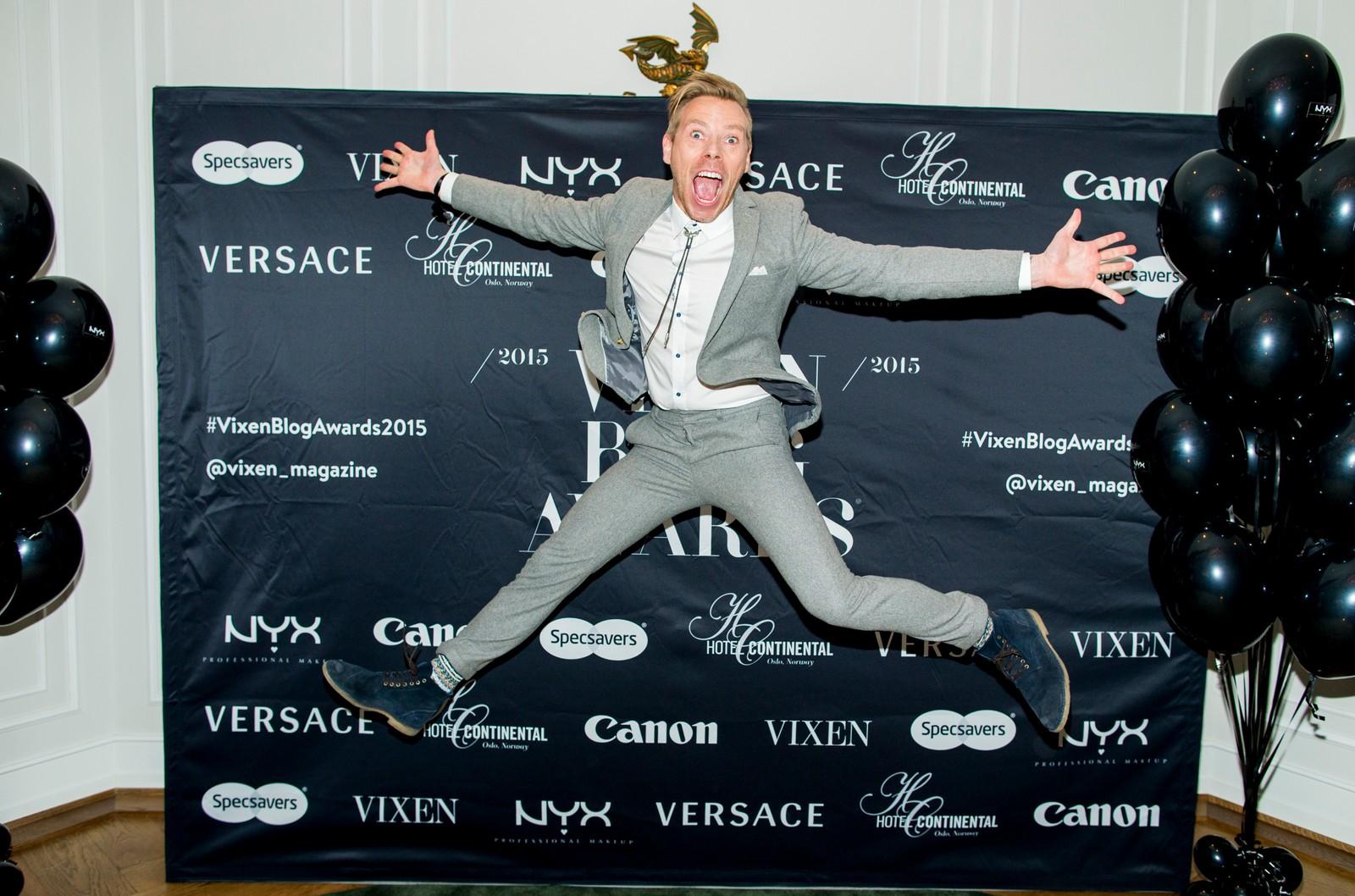 Espen Hilton ankommer Vixen Blog Awards 2015 på Hotel Continental i Oslo fredag kveld.