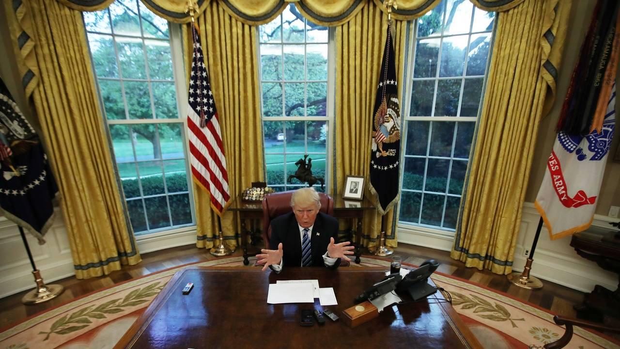 Det ovale kontor i Det hvite hus under Donald Trump.