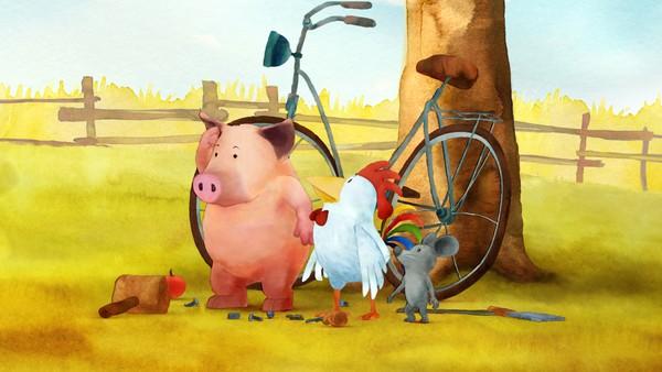 Tysk animasjonsserie. Bli med ut på landet til grisen Waldemar, hanen Franz og Johnny mus. De hjelper alltid hverandre som gode venner gjør. Og hvis de andre dyra på Engebakken har problemer, stiller de tre vennene opp.