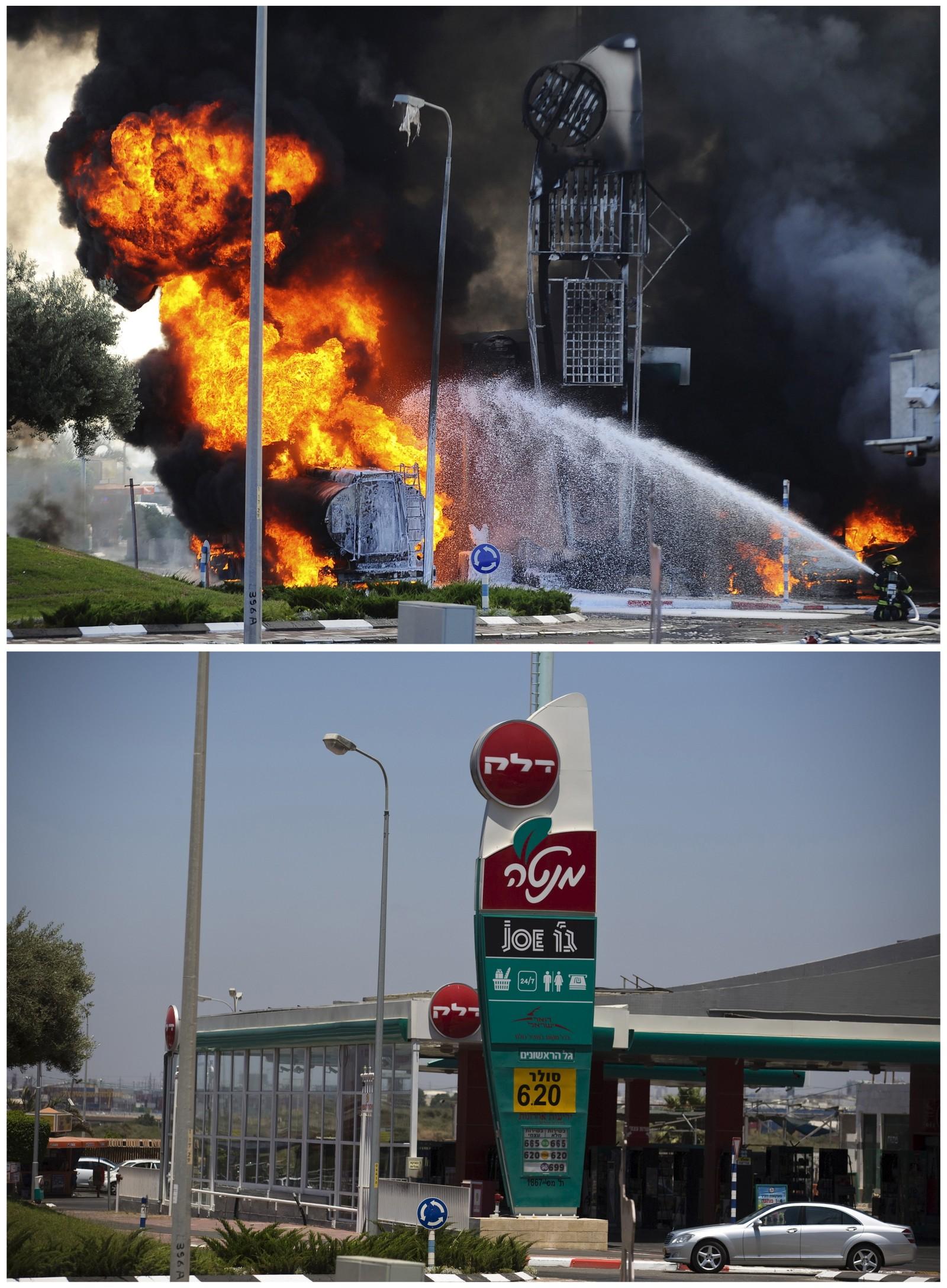 Israelske brannmenn forsøker å få kontroll på flammene etter at en palestinsk rakett traff en bensinstasjon i Ashdod 11. juli i fjor. Det nederste bildet er tatt 7. juli i år.