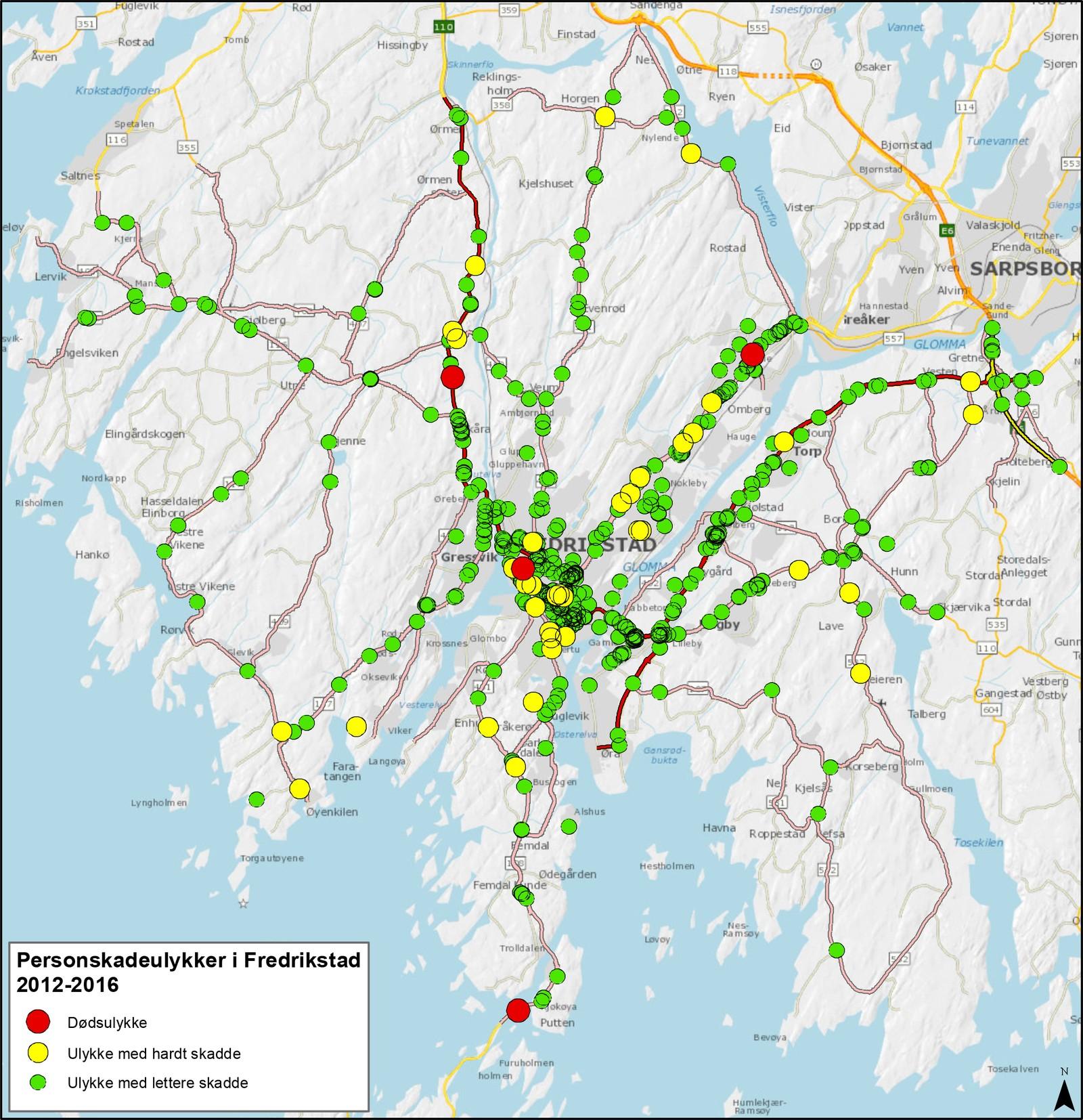 I Fredrikstad er det flest ulykker på veien i og inn mot sentrum av byen.
