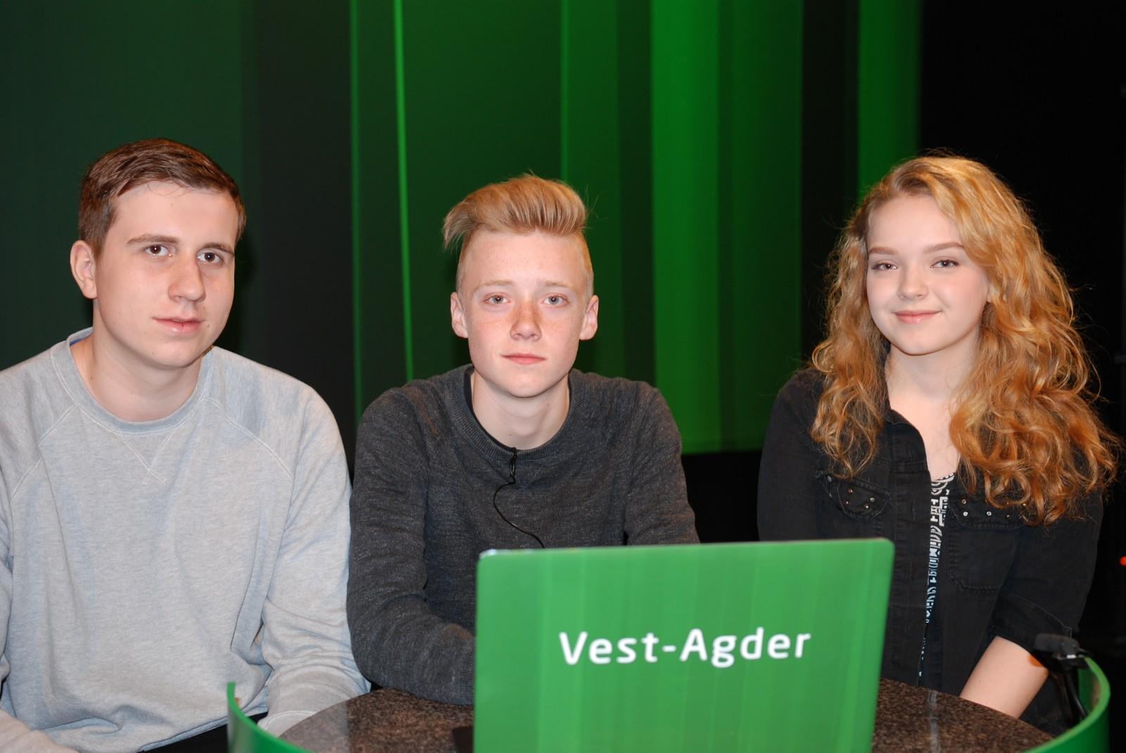 VEST-AGDER: Haumyrheia ungdomsskole i Kristiansand representert ved Olaf Rosendahl, Magnus Ramsdalen og Leah Hansen.