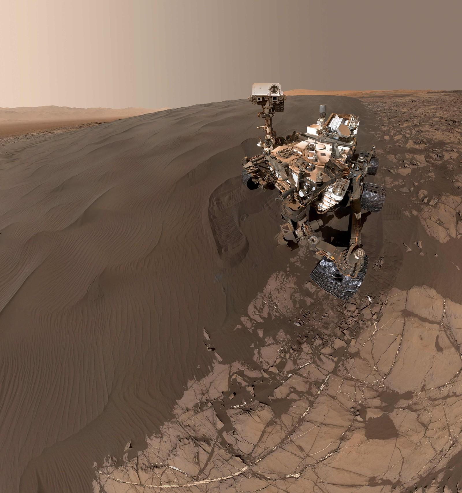 Årets selfie? Nasas Curiosity sendte dette bildet fra Mars i februar.