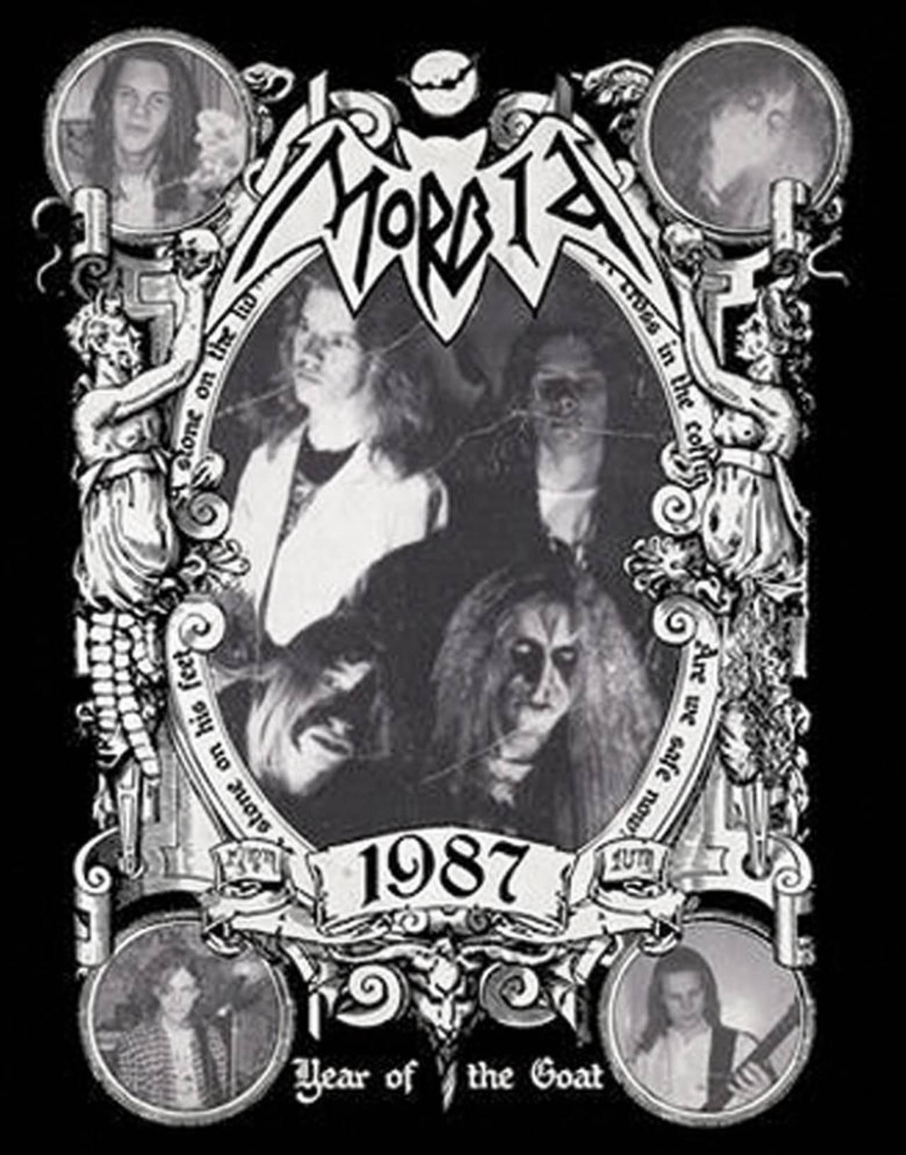 Coveret til Year of the Goat samleplaten til Morbid. På coveret ser du bandets logo og bandmedlemmer i 1987.