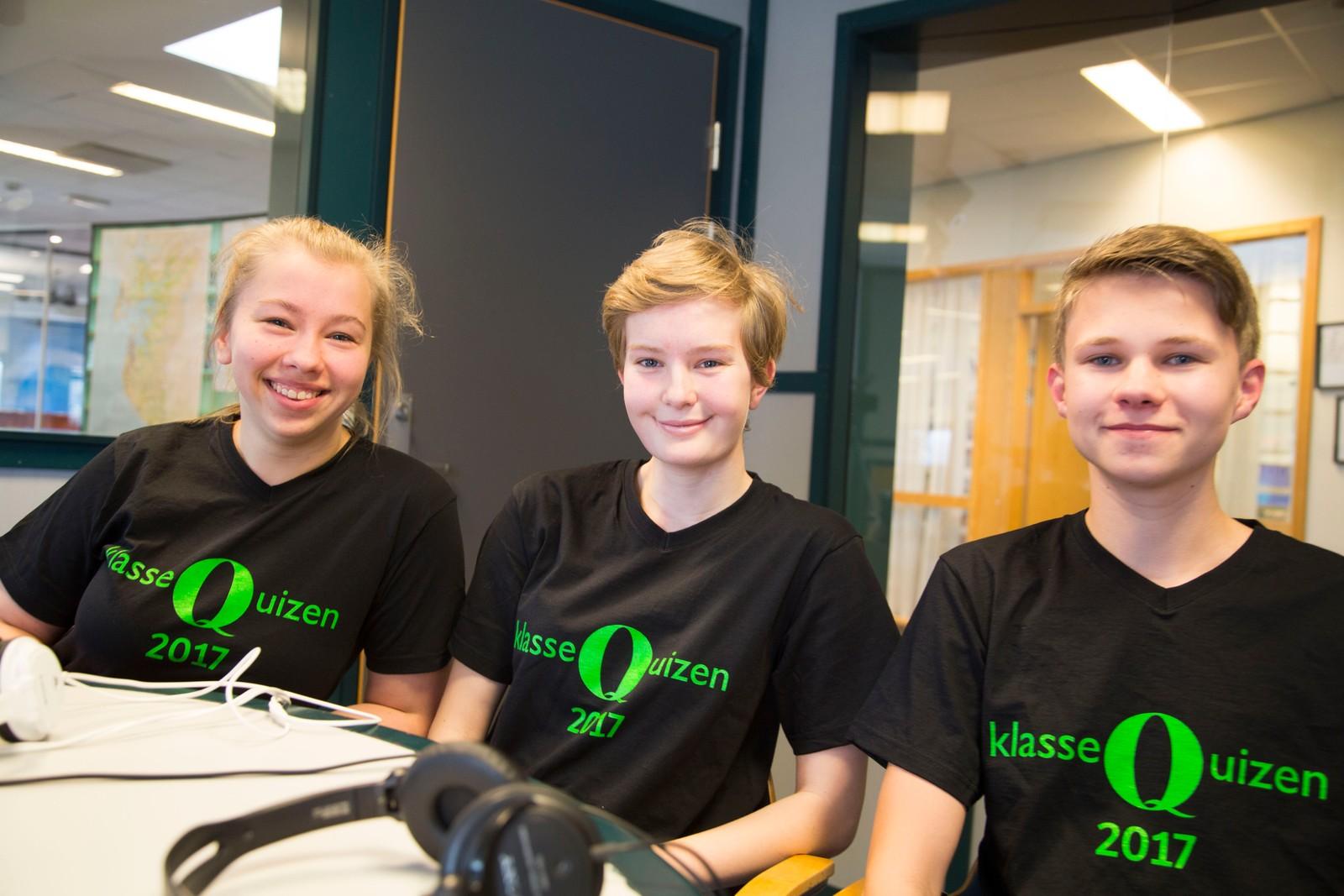 Smiodden skole fikk 11 poeng i Klassequisen. På laget: Kristine Kjær Vatnaland, Maria Døeheim og Simen Kvalvåg Navestad.
