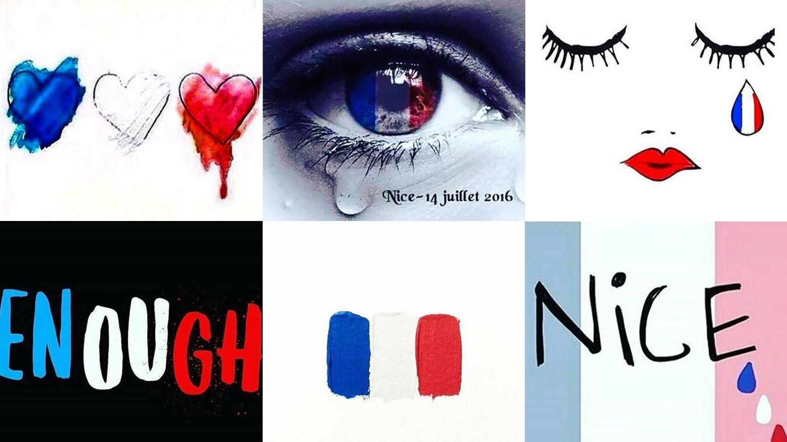 Flere markerer sin medfølelse på sosiale medier med profilbilder i franske farger.