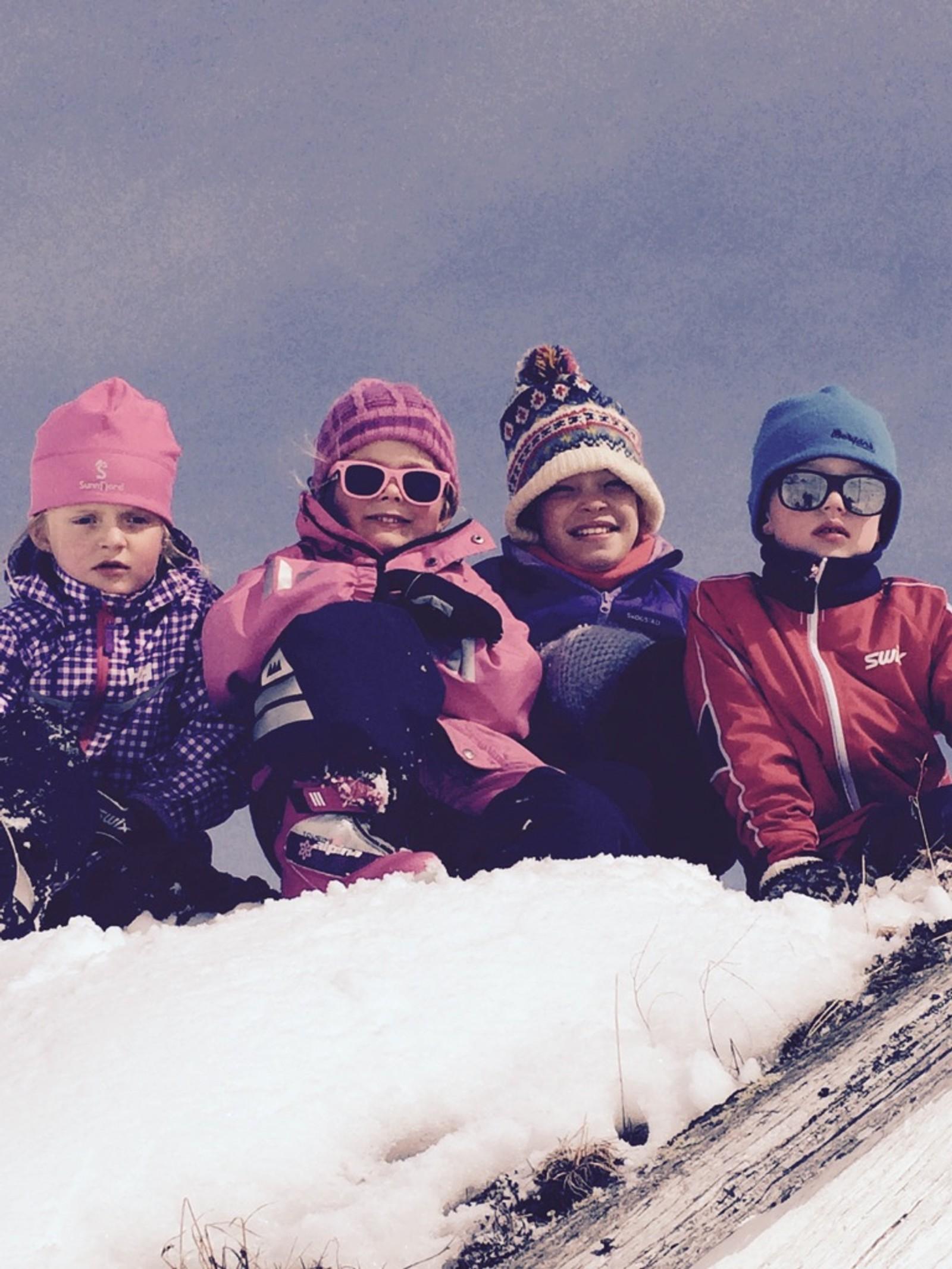 Oline, Anna, Ingrid og Peder på hyttetaket.