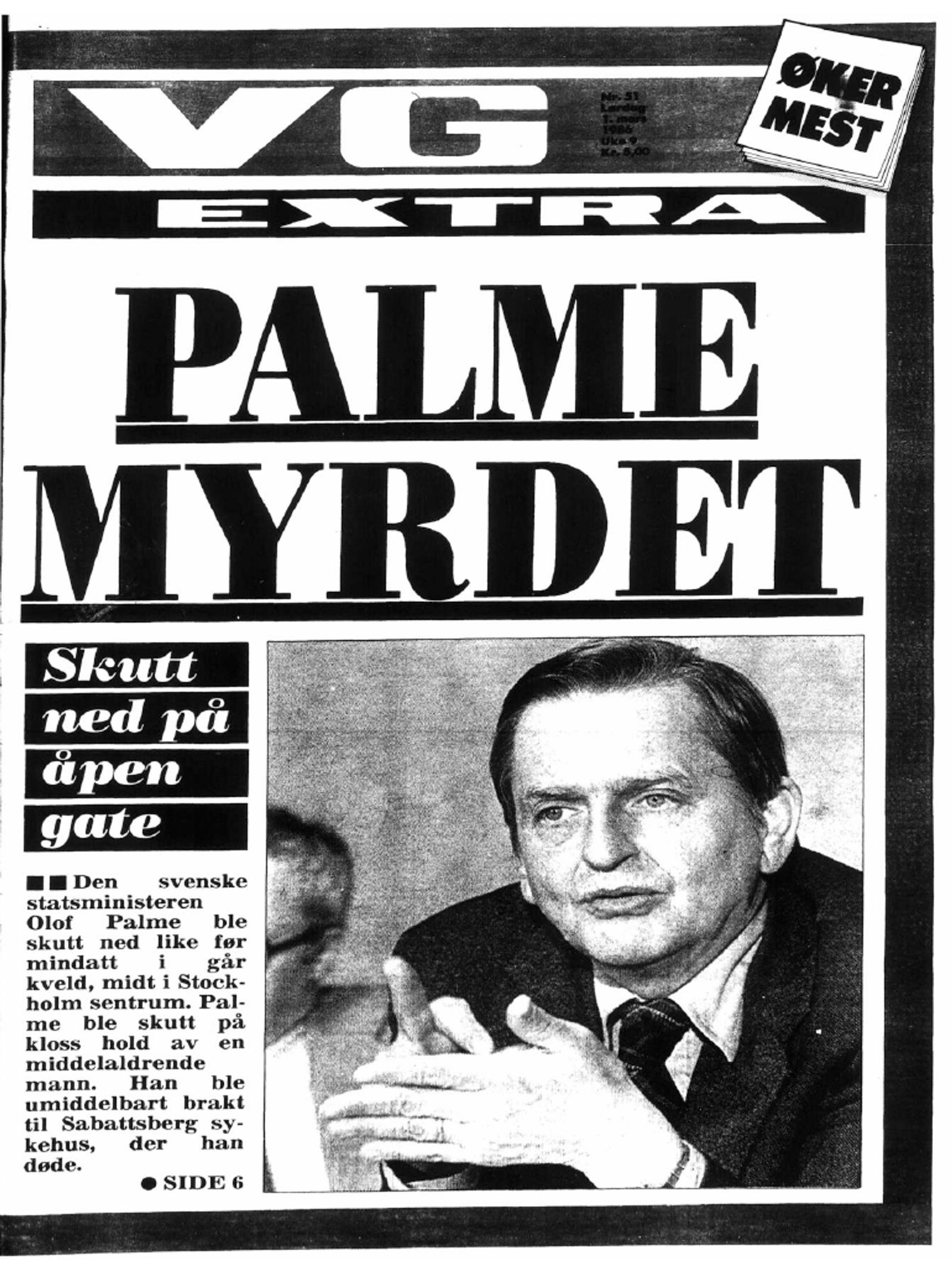 VGs forside 1. mars 1986.