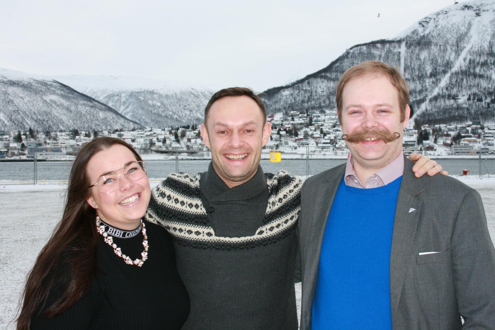 Torgeir Knag Fylkesnes, 1. kandidat til Stortingsvalg 2017. Katrine Boel Gregussen, 2. kandidat. Bjarne Rohde, 3. kandidat. Bilde fra årsmøtet i Troms SV 19. februar 2017.