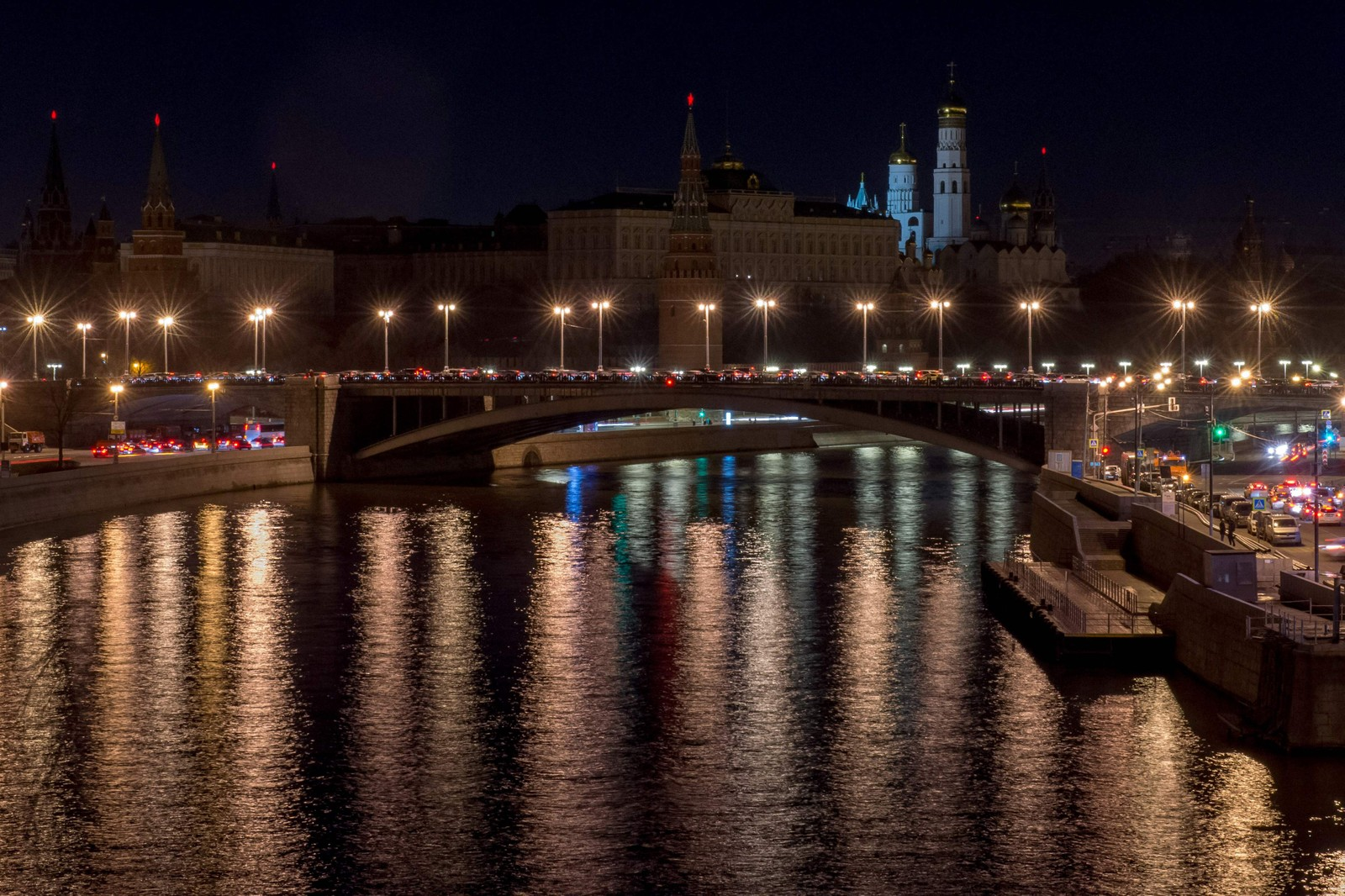 Kreml i Moskva i Russland under Earth Hour.