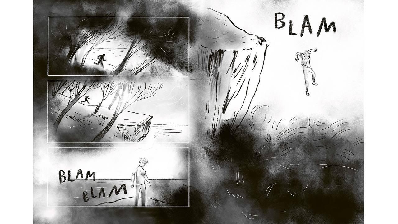 Tegning fra tegneserieromanen