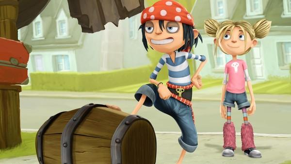 Fransk animasjonsserie.  Endelig noe nytt for Matilda som bor i Kjedestrand. Den noe uvanlige piratfamilen Sjøsterk flytter inn.