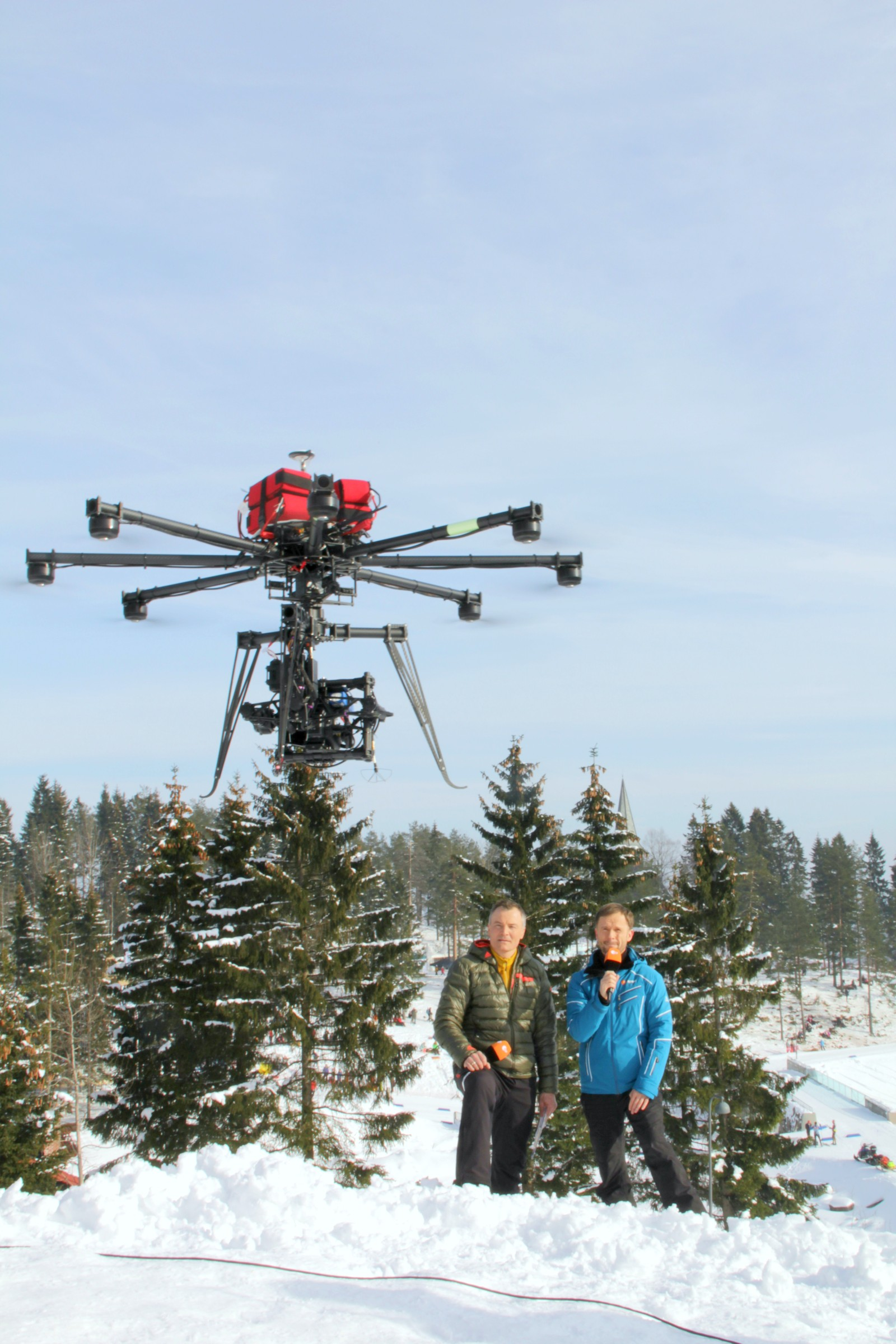The NRK Host Broadcaster drone crew on an assignment German TV.