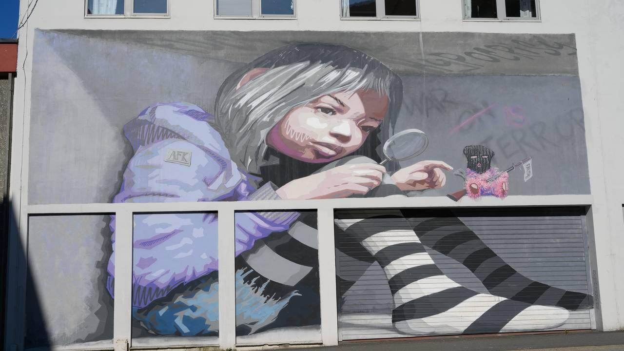 Gatekunst fra Bergen. Et kunstverk som ble laget av AFK i forbindelse med sykkel-VM.
