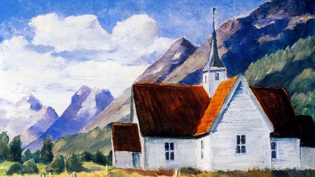 Olden gamle kyrkje, måla av Trygve Bolstad.