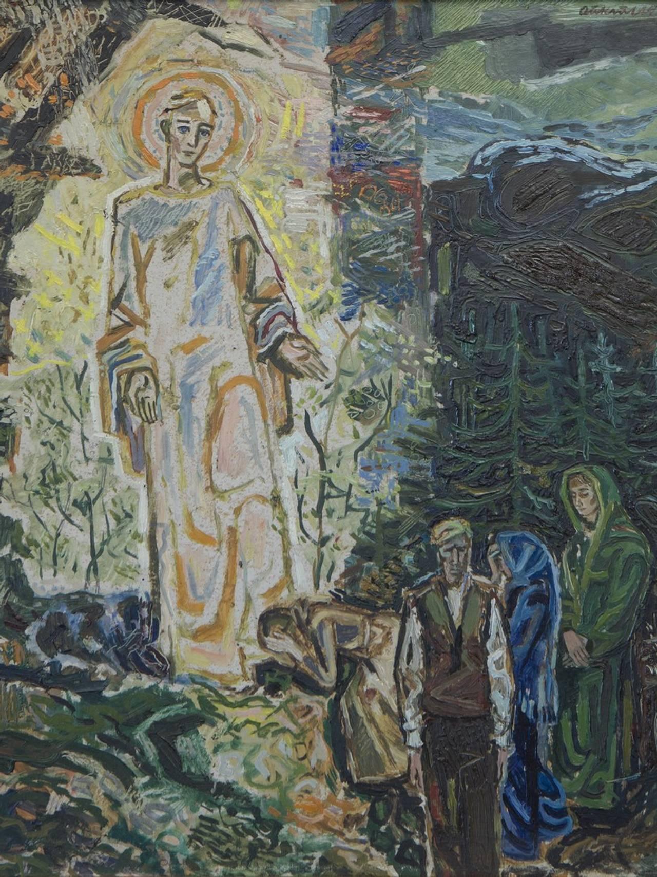 Forslag til Sollia kirkes altertavle (i privat eie). Gjengitt med tillatelse fra Kari og Kjell Aukrust Stiftelse.