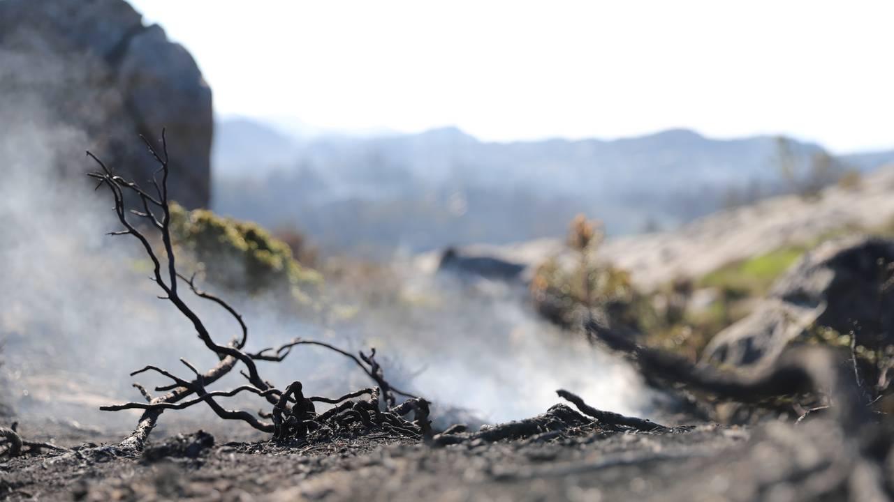 Brannen ulmer i terrenget på Kårtveit på Sotra