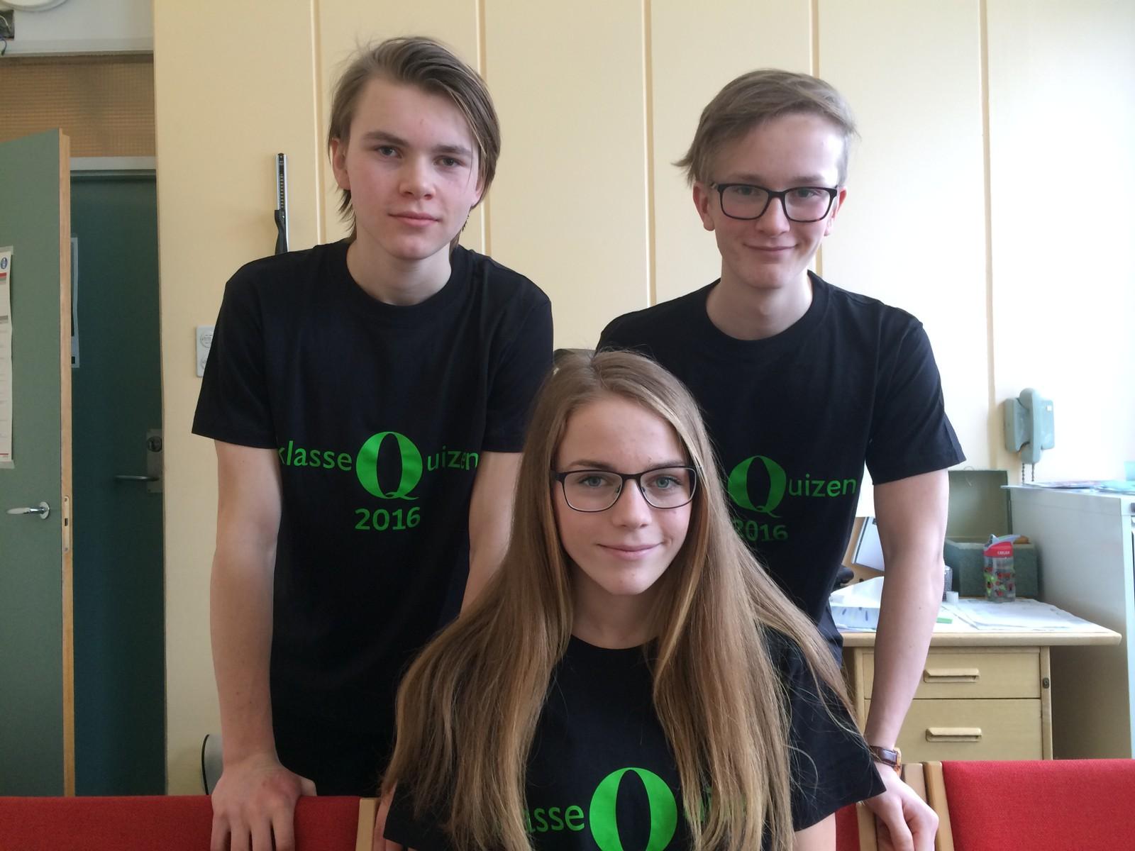 Tråstad ungdomsskole i Kongsvinger klarte 10 rette (for tredje året på rad!). Deltagerne: Oliver Risberg, Anna Braathen og Halvor Nordli.