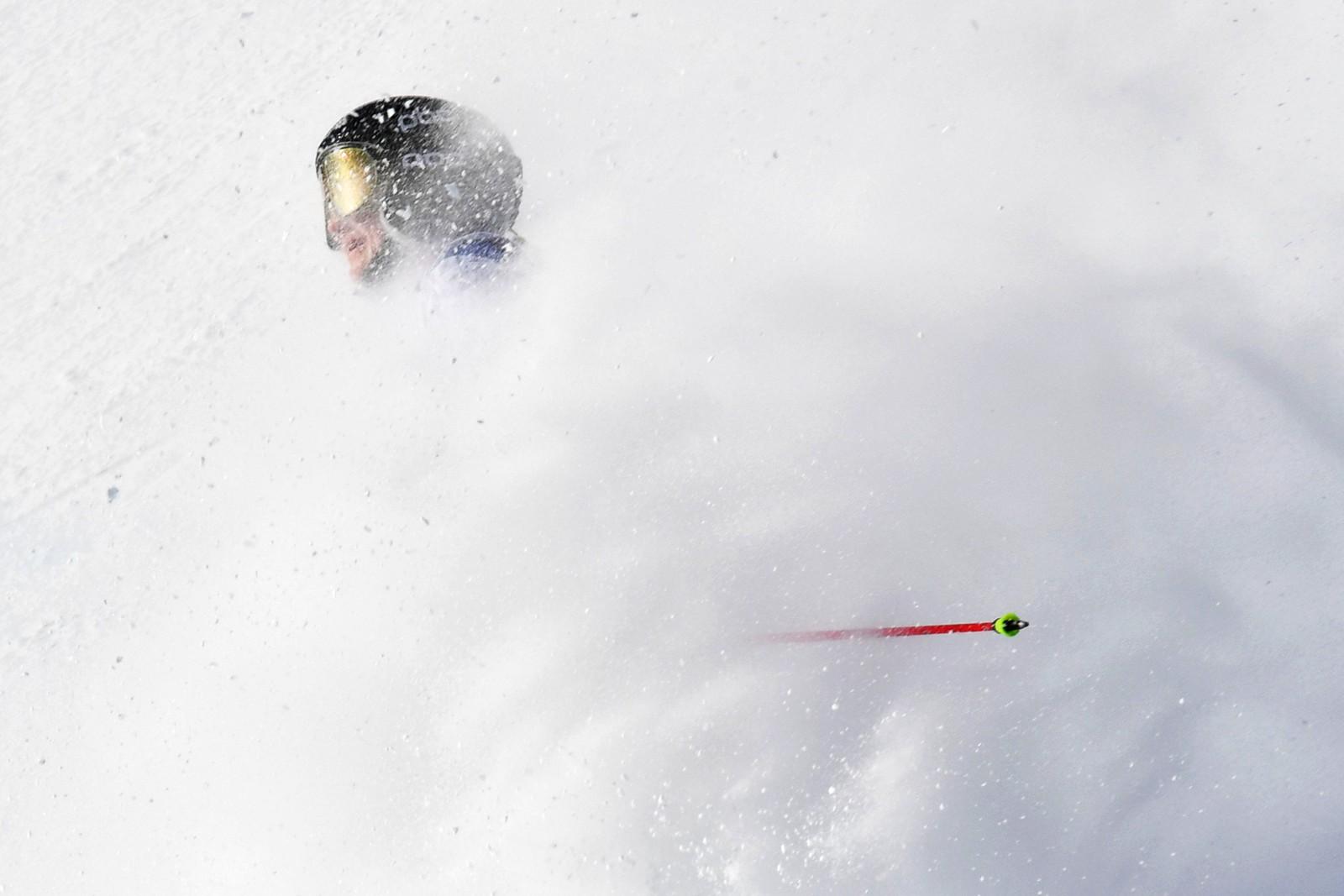 Sveitsiske Simone Wild har nettopp krysset målstreken under VM i storslalåm i St. Moritz i Sveits