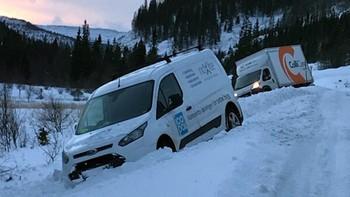 BLÅST AV VEIEN: To biler ble blåst av veien i Åfjord i morges. Begge bilene kom ut fra et skogkledd område, da vinden tok tak og sendte dem i grøfta.