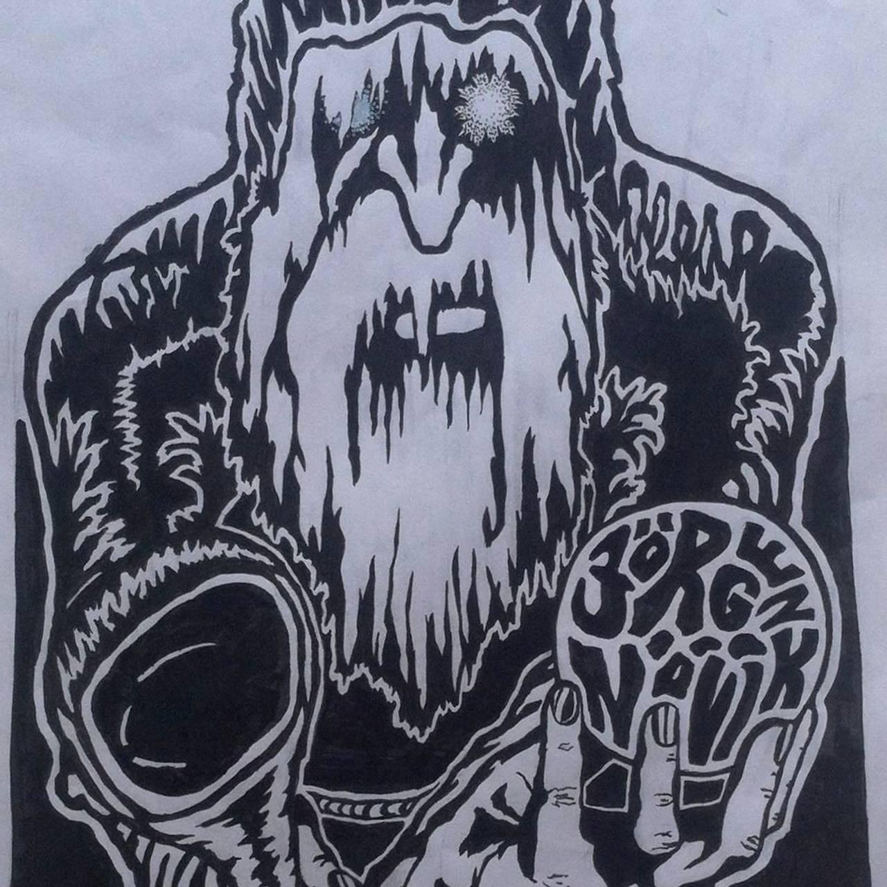 Maleri i svart-hvitt av en Odin-lignende isete skikkelse