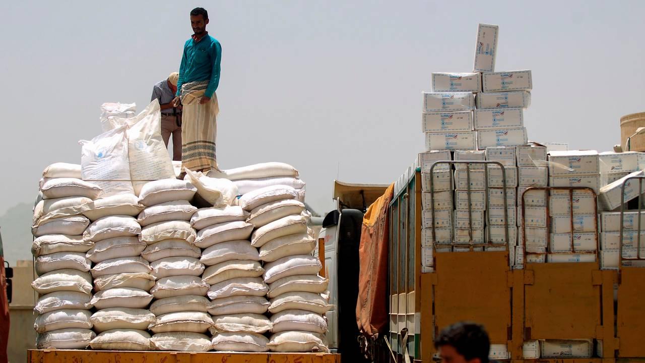 Mat- og medisiner fra Verdens matvareprogram i Jemen
