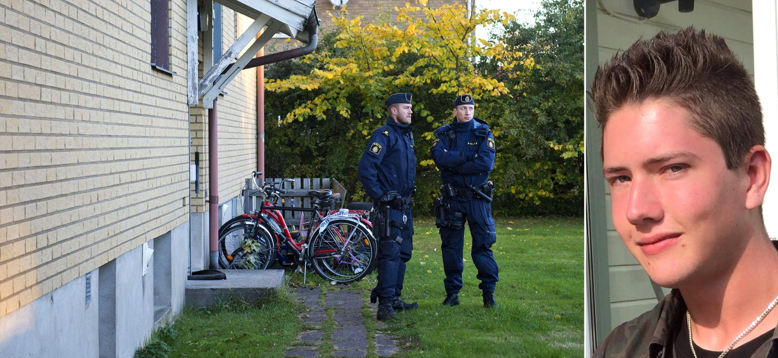 Her bodde drapsmannen Police officers guard on October 23, 2015 the apartment building where the man who allegedely attacked students at a primary and middle school in Trollhattan, southwestern Sweden, used to live. The masked man brandishing a sword broke into a school in Sweden, killing two people and seriously wounding two others before being shot by police. AFP PHOTO / JONATHAN NACKSTRAND -