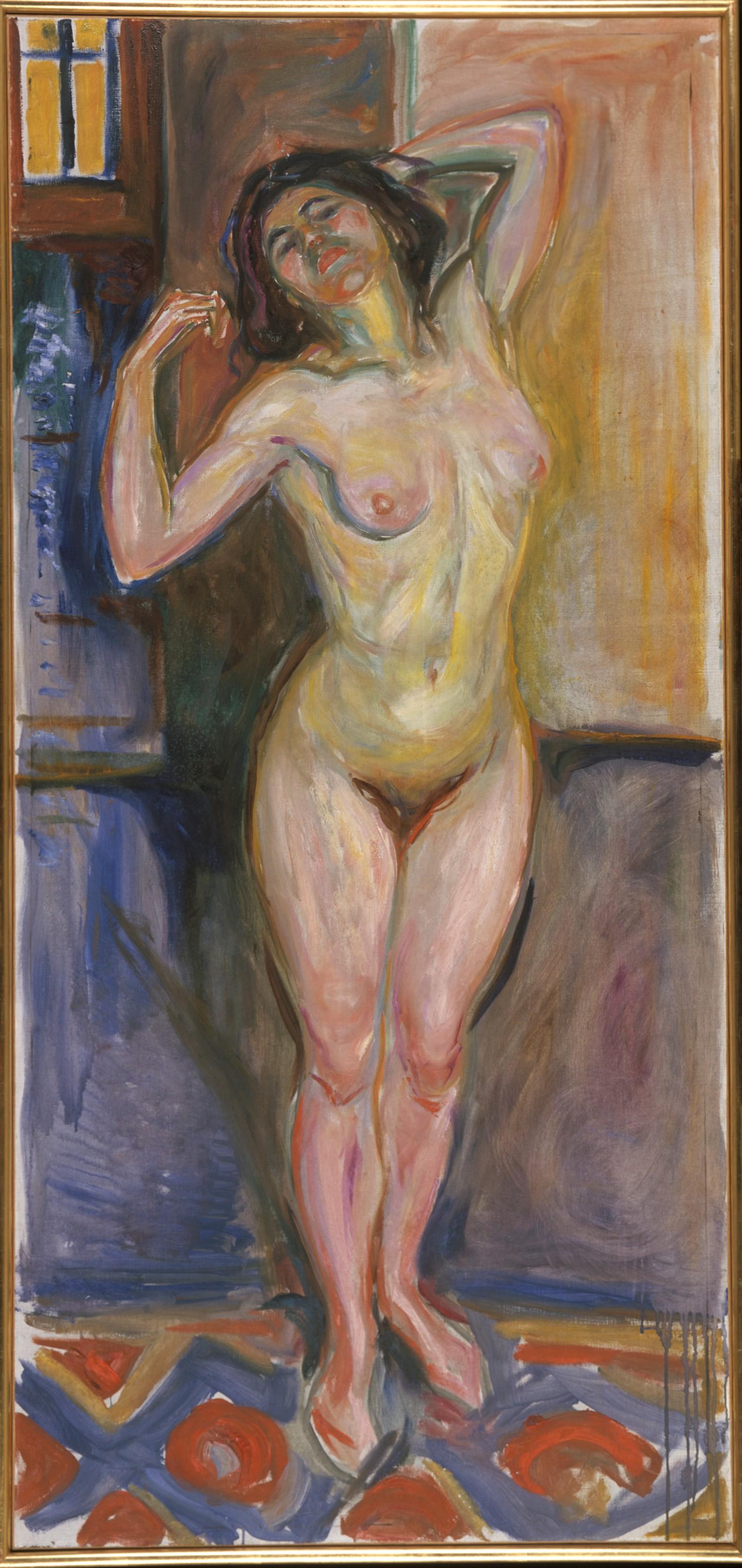 Munch: Stående akt med armene bak hodet, 1922-25