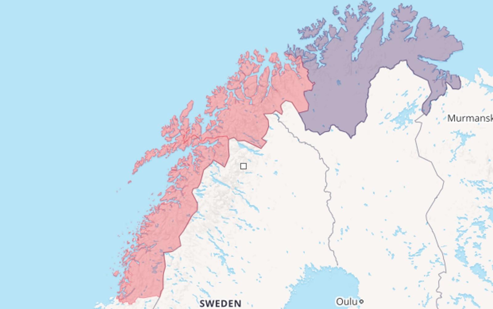 Alternativ 5: Nordland og Troms blir ett. Finnmark består som i dag.