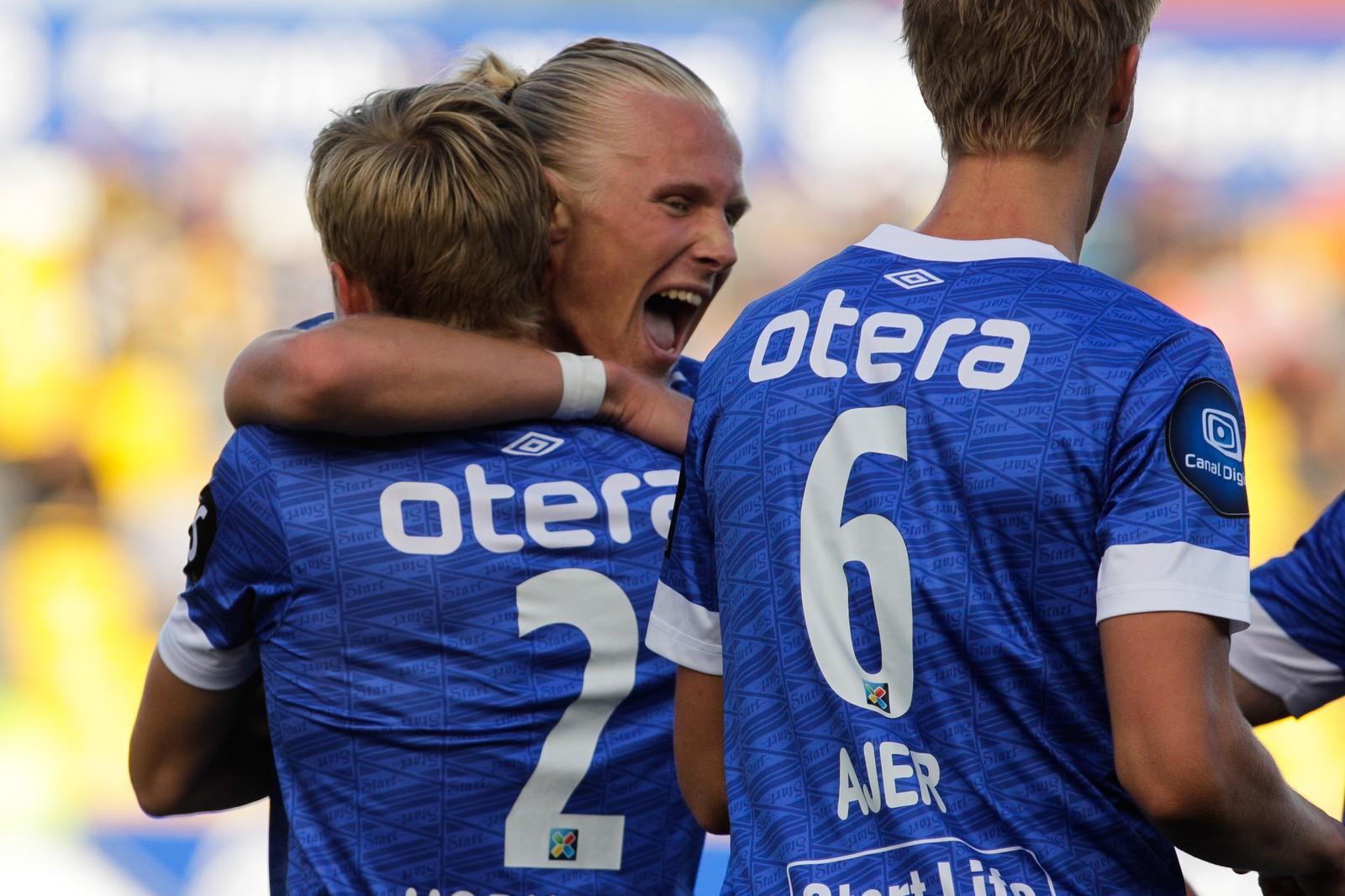 Starts Lars Jørgen Salvesen feirer 0-1 scoringen under eliteseriekampen mellom Bodø/Glimt og Start på Aspmyra Stadion.