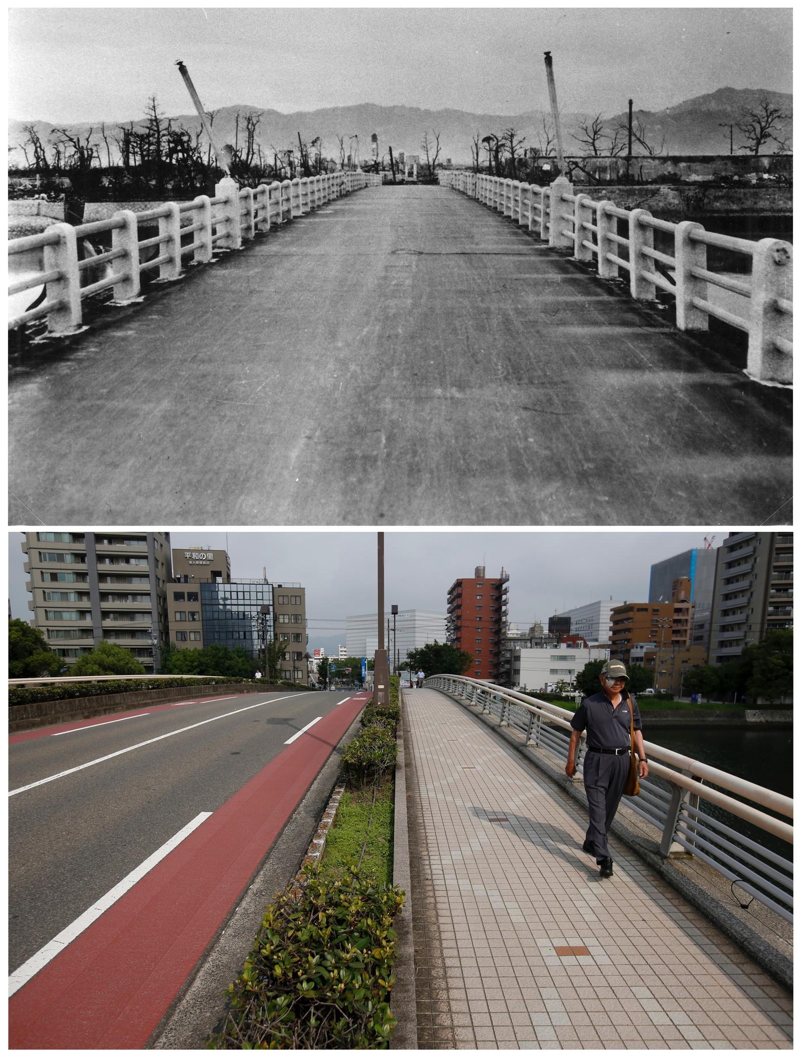 Et før - og nå-bilde av en bro i den japanske byen Hiroshima. Byen var den første som ble truffet av en atombombe på slutten av andre verdenskrig for 70 år siden.
