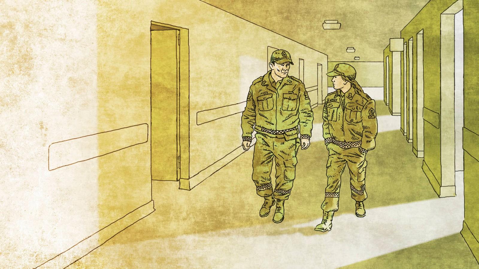 Illustrasjon av to politibetjenter som går ned en korridor