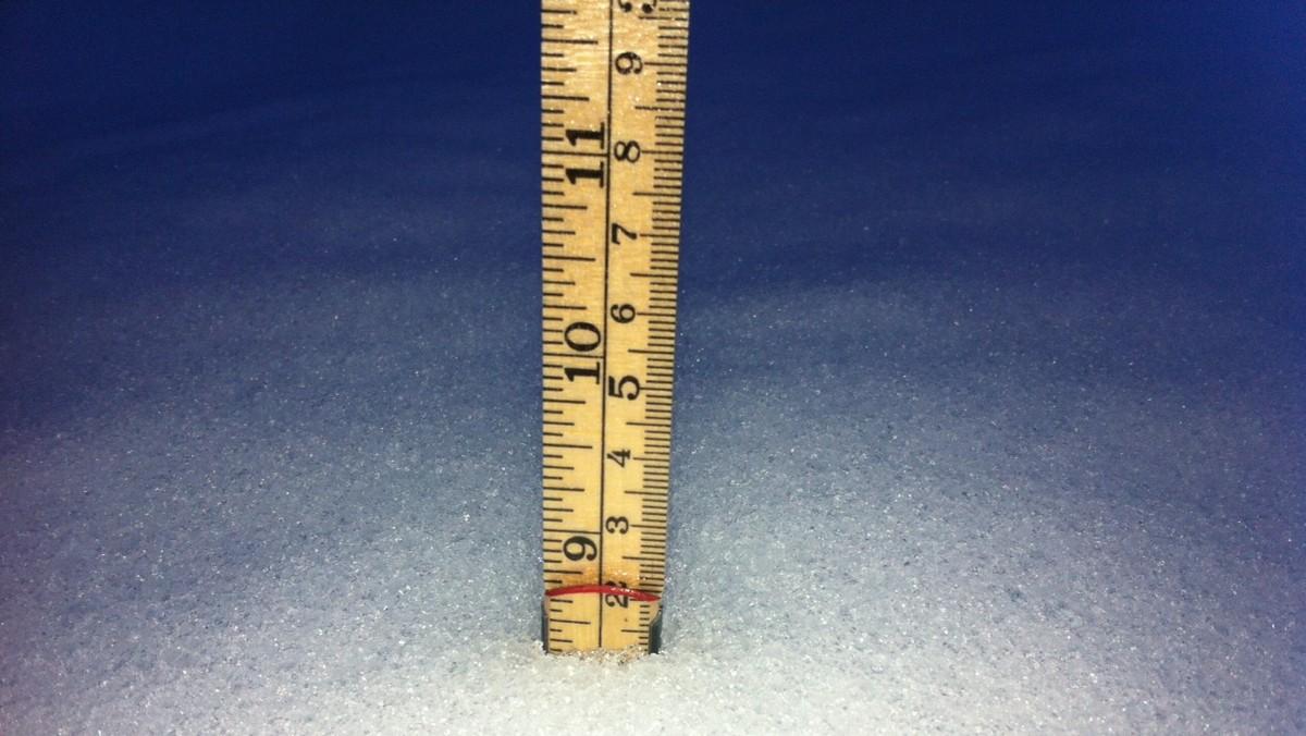 Mm nedbør i snø