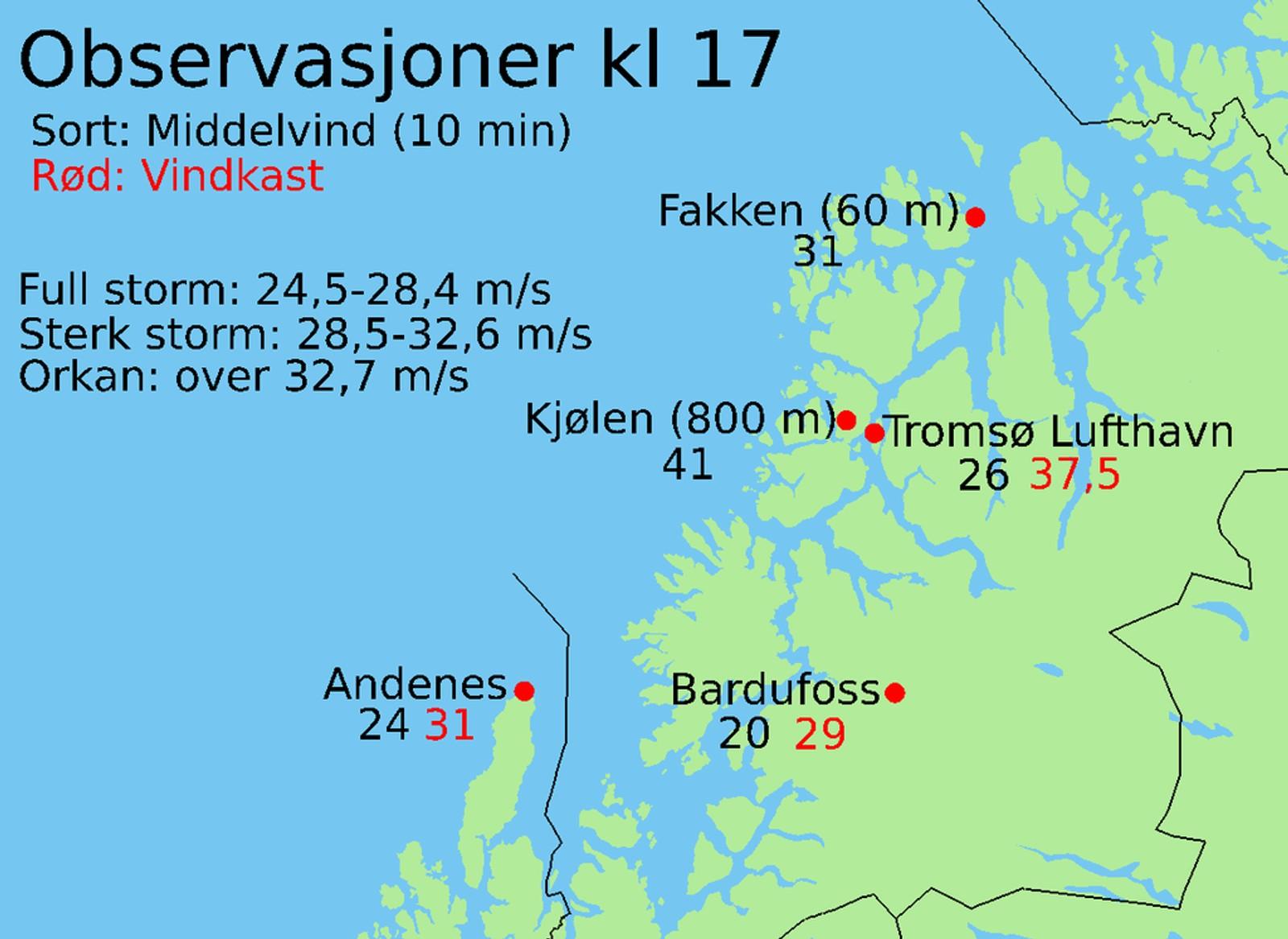 Vindstyrke i Troms kl 17, 7.2.